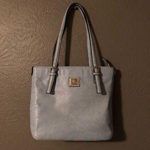 Anne Klein Baby Blue Handbag with Gold Detailing